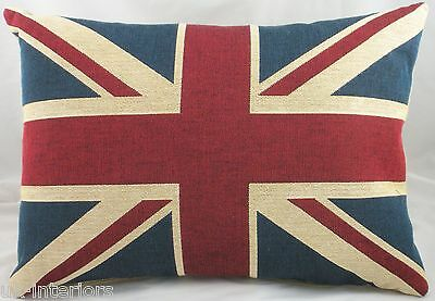 "Union Jack British United Kingdom Flag Belgian Tapestry Cushion 18"" x 13"" LB362"
