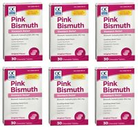 6 Pack Quality Choice Pink-bismuth Chewable Tablets 30 Tablets Each