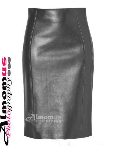 Femmes Femme Original en peau d/'agneau taille haute montée crayon jupe longueur genou