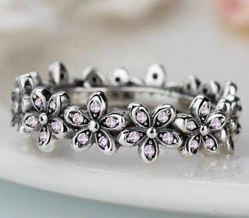 GENUINE STERLING SILVER 925 DAZZLING SHIMMERING DAISY FLOWER BAND RING SIZE 54