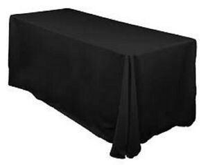 87d397abeaf3 Image is loading 6-ft-Black-Trade-show-Tablecloths-Premium-White-