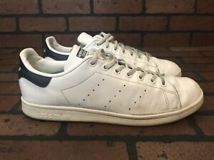 79f4c1fa12b3 Adidas Stan Smith White Navy Leather With Super Feet Insoles Size 12 ...