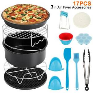 5PCS//Set Cage Pot Dish Air Fryer Rack Accessories Pizza Tray Baking Pan Frying