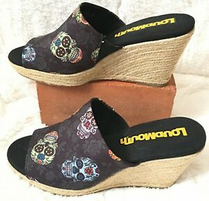 NEW-Loudmouth-Sugar-Skull-Marlene-Day-Of-The-Dead-Women-s-Wedge-Size-8-5-NWOB