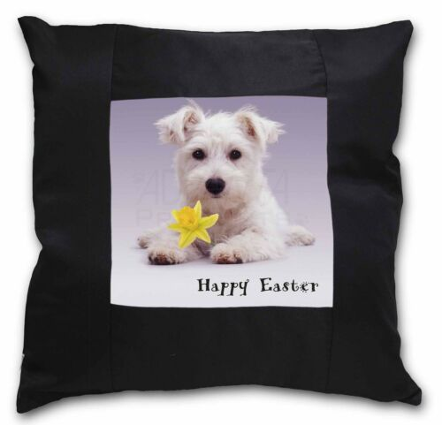 'Happy Easter' Westie Black Border Satin Feel Cushion Cover With P, ADW7DA1CSB