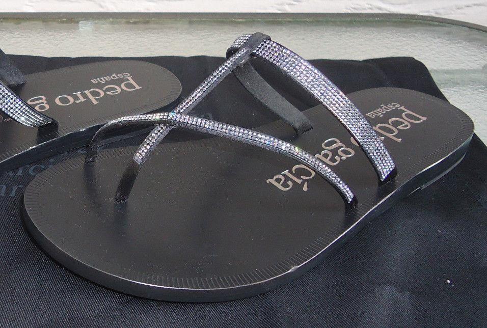 NEW  525 Pedro Garcia 35.5 US5 Zenda Slides Sandals Leather Black Meteroite
