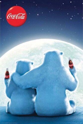 COCA COLA ~ POLAR BEARS MOON 24x36 POSTER Coke Soda Pop Bottle Bear NEW//ROLLED!