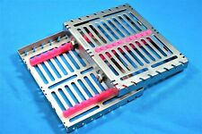 German 1 Dental Autoclave Sterilization Cassette Box Tray For 10 Instrument Pink