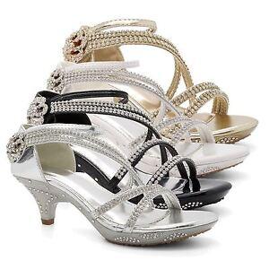 688b2b13ea Image is loading Childrens-Bridesmaid-Low-Kitten-Heel-Diamante-Sandals-Girls -