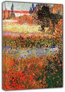 Garden of flowers Oil Paint  By VAN GOGH Reprint On Framed Canvas Wall Art Decor