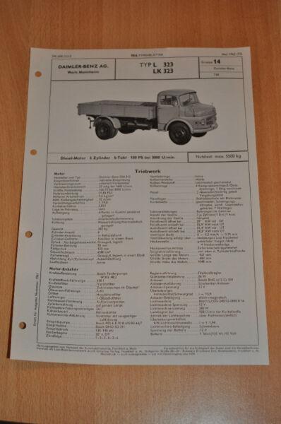 100% Kwaliteit Vda- Typenblatt - Lkw Db Mercedes L Lk 323 Diesel Technische Daten 05/1962