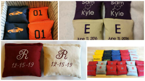 Embroidered Cornhole Bags Personalized All Weather Resin Filled