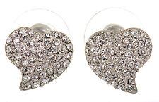Swarovski Elements Crystal Heart Alana Pierced Earrings Rhodium Plated 7118z
