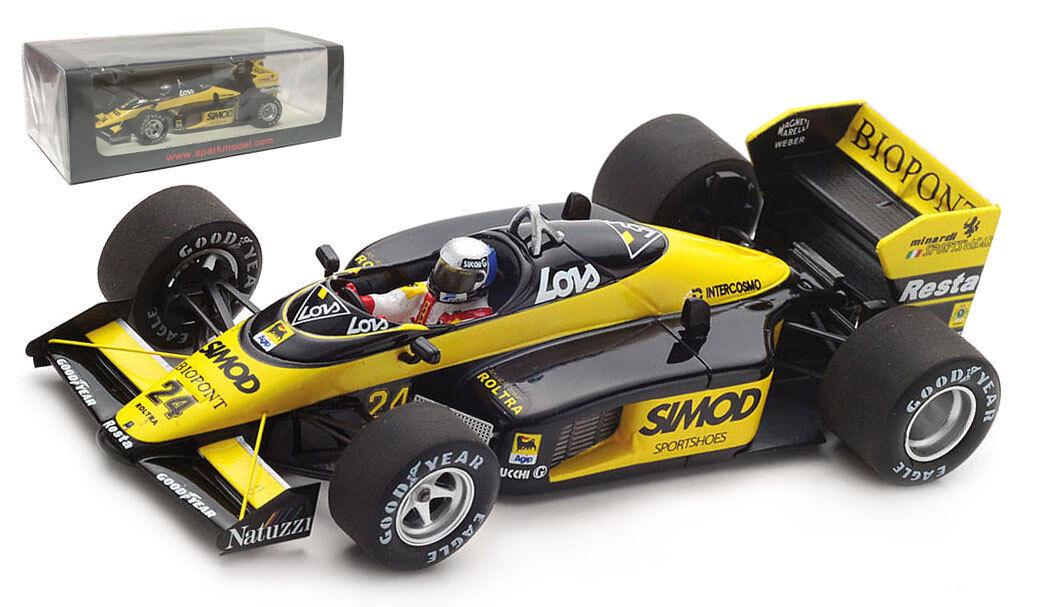 SPARK S4306 MINARDI M187  24 US Detroit GP 1987-Alessandro Nannini SCALA 1/43