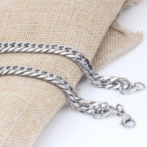 collier chaîne pour homme acier inoxydable plaqué argent 60 cm largeur 8 mm