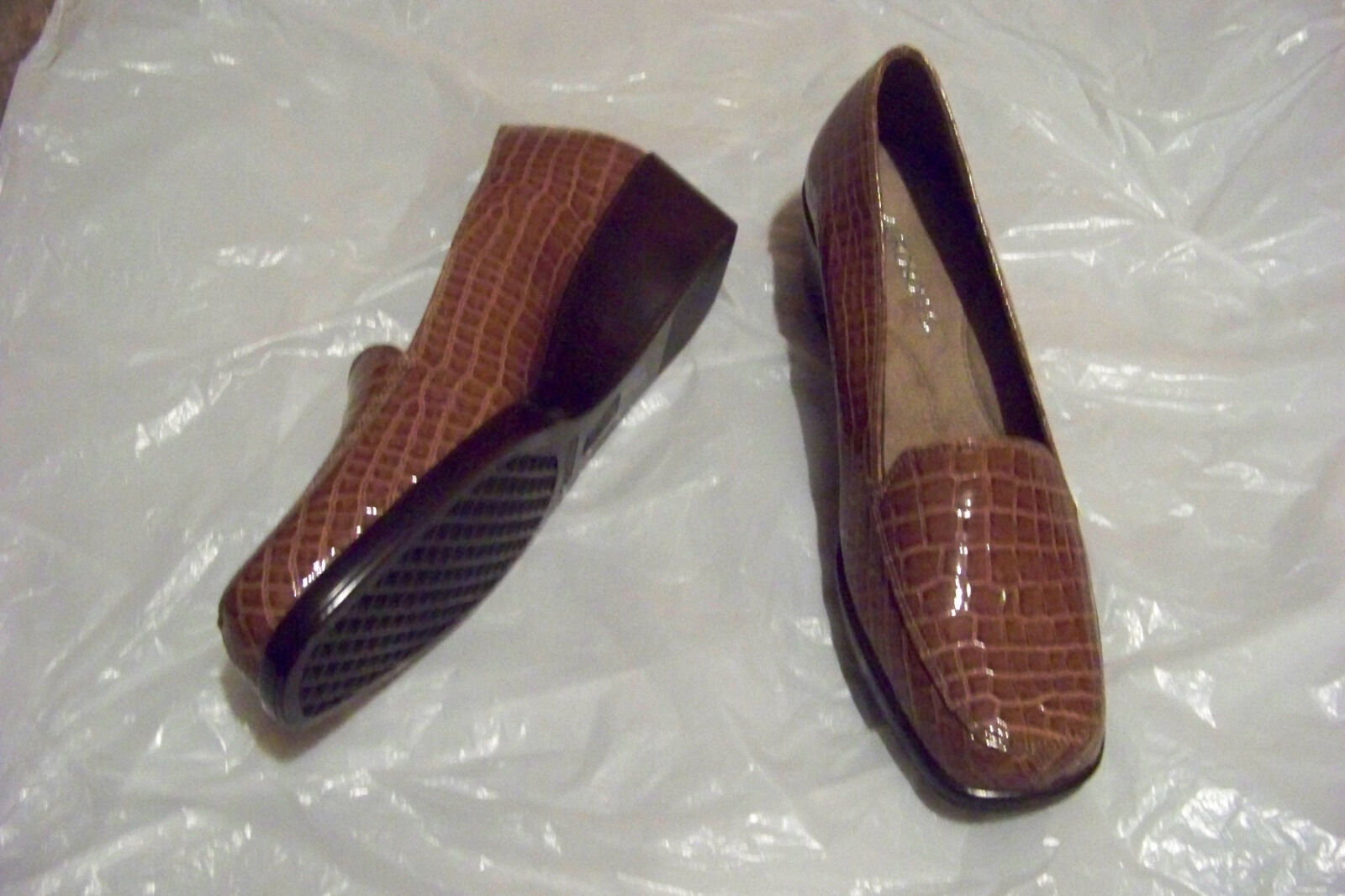 womens aerosoles final exam brown patent skin size print wedge heels shoes size skin 9 1/2 d82a36