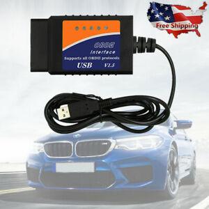 2017 ELM327 USB Interface OBDII OBD2 Diagnostic Auto Car Scanner Scan Tool Cabl
