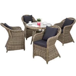 Détails sur Aluminium salon de jardin 4x chaise 1x table résine tressée  osier poly rotin set