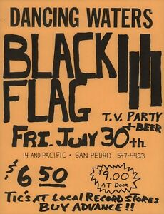 BLACK-FLAG-1982-DANCING-WATERS-1st-PRINTING-SAN-PEDRO-CALIF-FLYER-HANDBILL