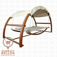 Outdoor Canopy Hammock Swing Contemporary Tan Brown Bed Back Yard Poolside Patio