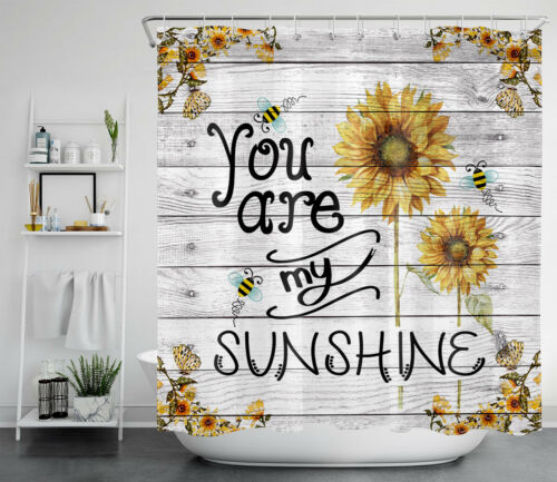 """71/"""" You Are My Sunshine Shower Curtain Sets Sunflowers Bee for Bathroom Decor"""