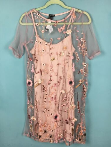 ricamato Floral 8 Mesh Pink Overlay 6 B59 Island Butterfly Dress River aqR0BB