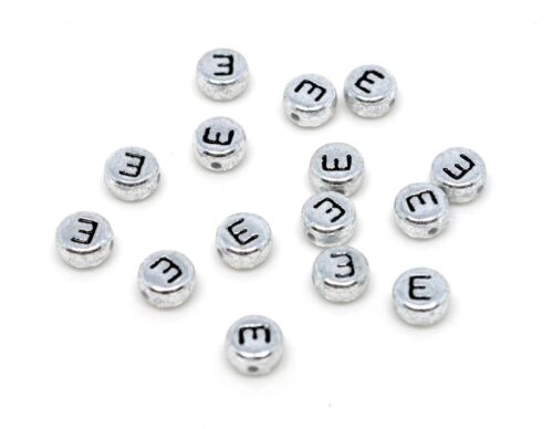 Acrylic Single Letter A-Z Silver Alphabet Beads 7mm x 4mm 200 SILVER DISC