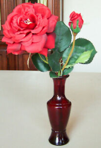 """Vintage 1960s Wheatonware Glass BUD VASE Ruby Red, 5.6"""" Great for Holidays -New!"""