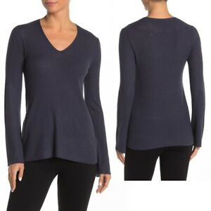 Vince NWT Womens M Hemp Blue Ribbed Wool Blend V Neck Long Sleeve Sweater