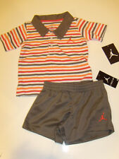 NWT Boys Nike Air Jordan Polo Shirt Shorts 2pc Outfit Set 12M NEW Clothes Logo