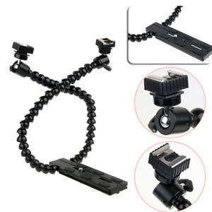 Dual-arm-Dual-shoe-Flash-Bracket-Holder-Mount-Flexible-Macro-Shot-Fr-DSLR-Camera