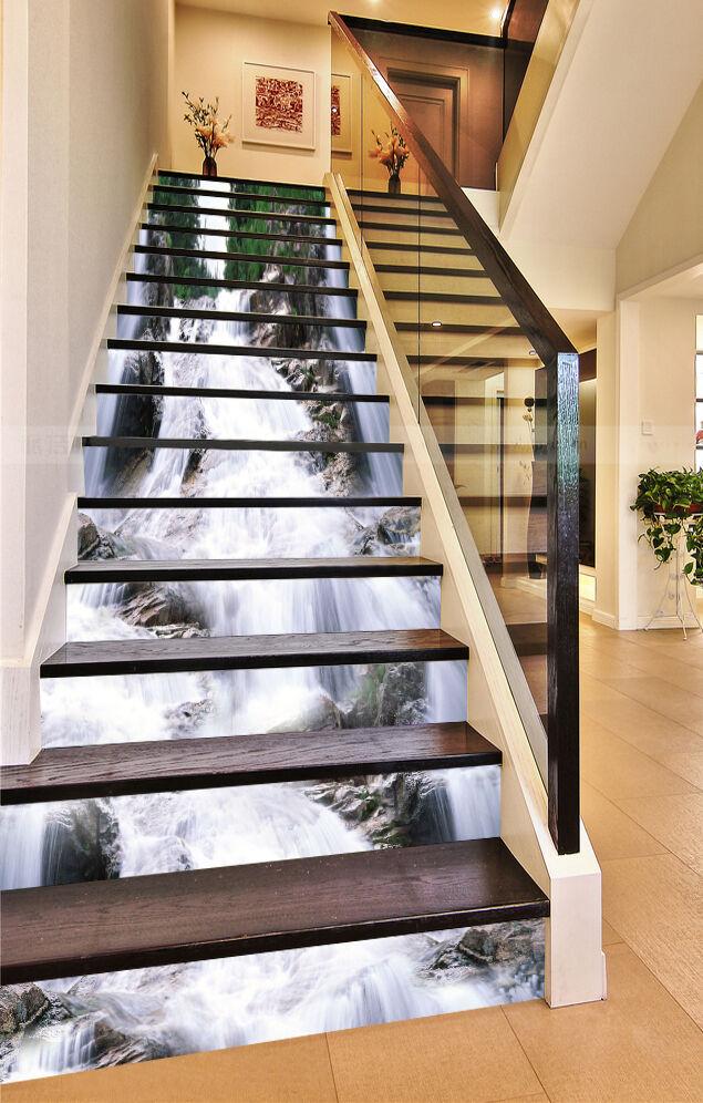3D Fluss Sprühen 31 Stair Risers Dekoration Fototapete Vinyl Aufkleber Tapete DE