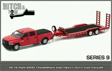 PREORDER Greenlight hitch and tow 9 2016 RAM Tradesman with hd car trailer