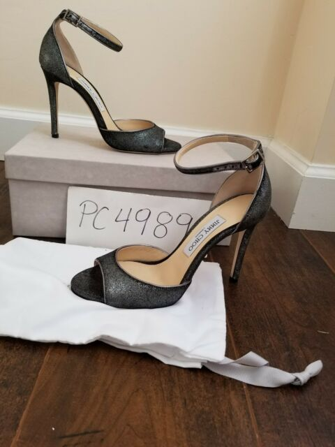 f62dfe00a773 NWT Jimmy Choo ANNIE 100 Anthracite Velvet heels pumps 39 US 8.5 9 receipt