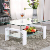 White Rectangular Glass Coffee Table Shelf Chrome Wood Living Room Furniture
