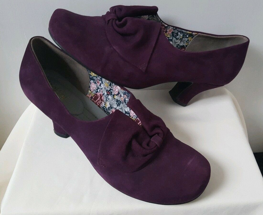 Hotter women Suede Leather shoes UK 9 Exf Wide. Plum Vintage Bestsellers Rrp