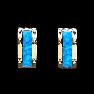 Details About Real 14k Yellow Gold Blue Opal Earrings Diamond Cut Las Hoop Huggies