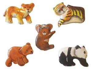 Details Zu Magnet Holz Tierbabys 5er Set Löwe Tiger Bär Koala Panda Hand Geschnitzt