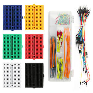 Breadboard 170 Tie Point Mini Prototype PCB Solderless With Hole +Jumper Wire UE