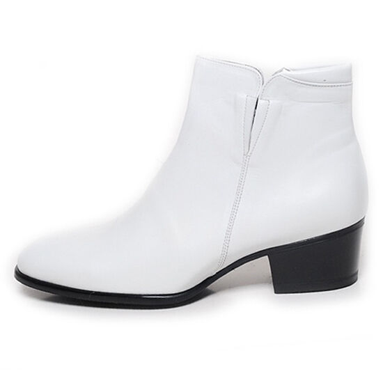 Men's plain toe real leather side zip white 1.96  heels ankle boots US6-US10.5