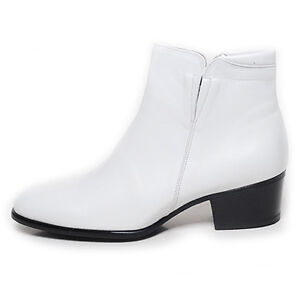 bd06d807480318 Details about Men's plain toe real leather side zip white 1.96