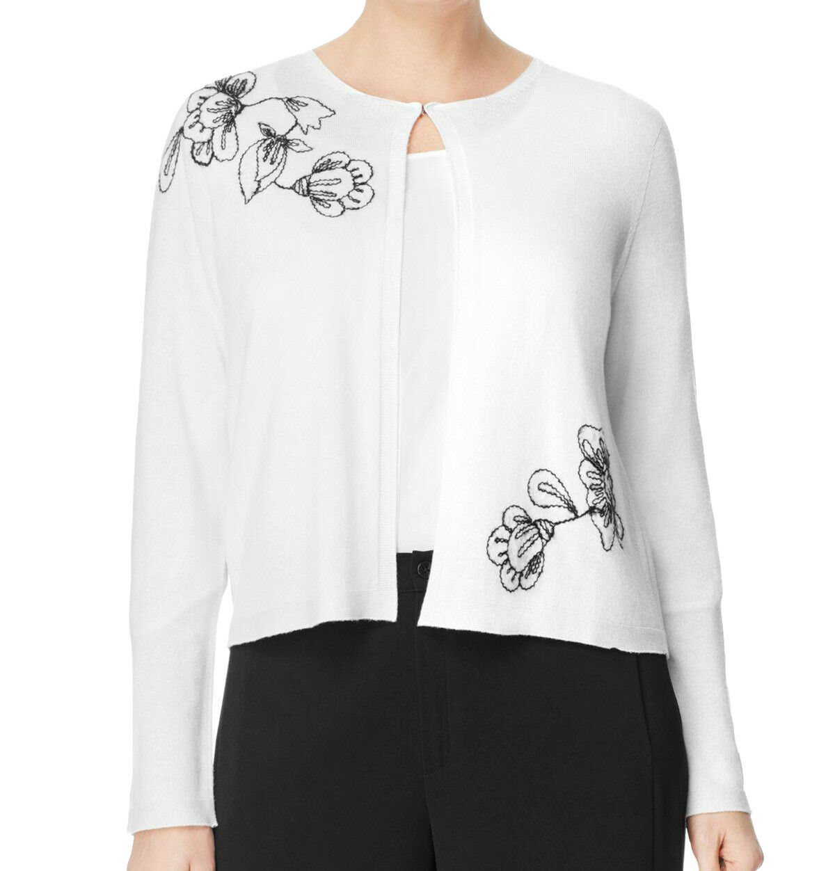 MARINA RINALDI Women's White Magico Floral Embroidered Sweater  NWT