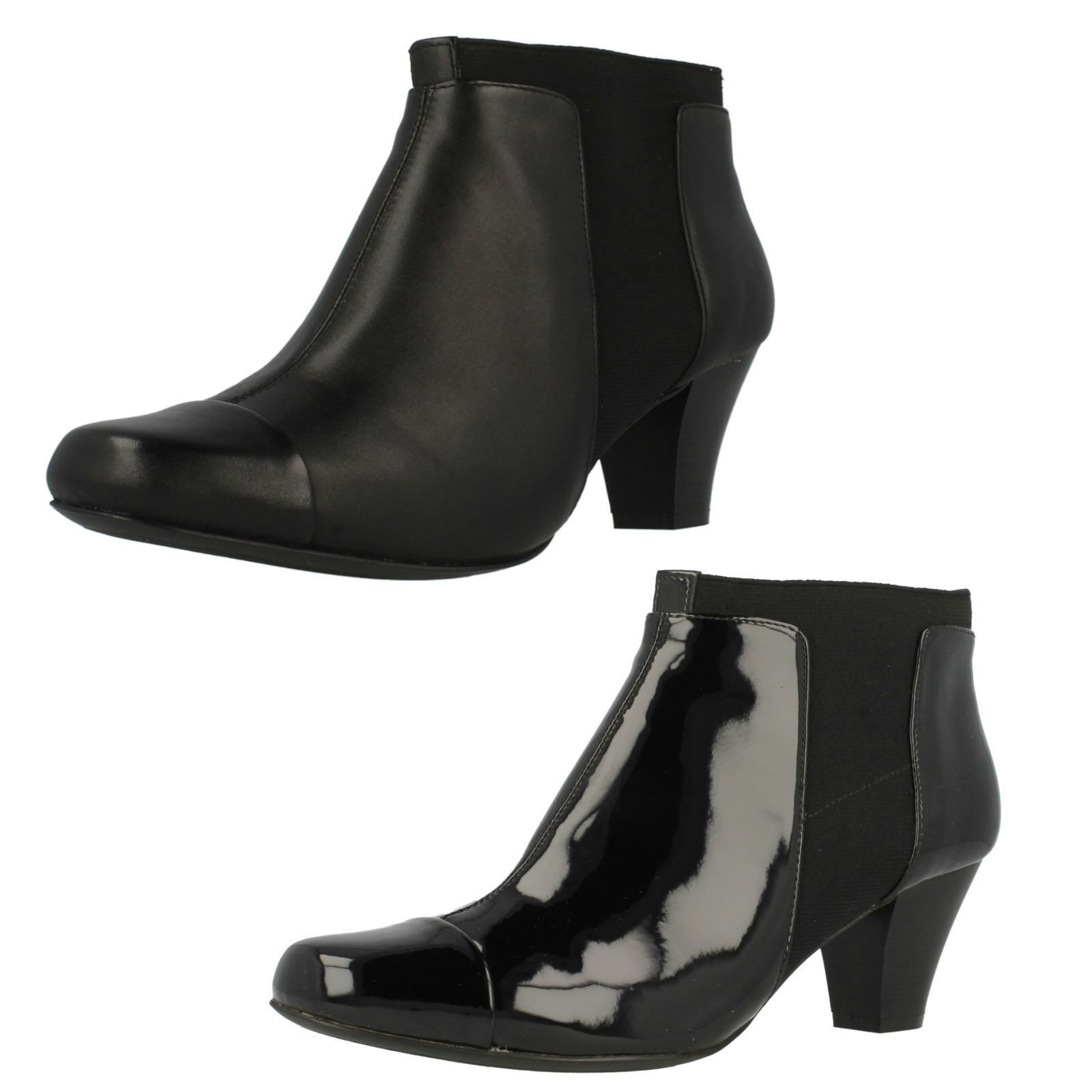 LADIES CLARKS PATENT LEATHER PULL ON SMART CHELSEA ANKLE BOOTS LODGE GATES SIZE