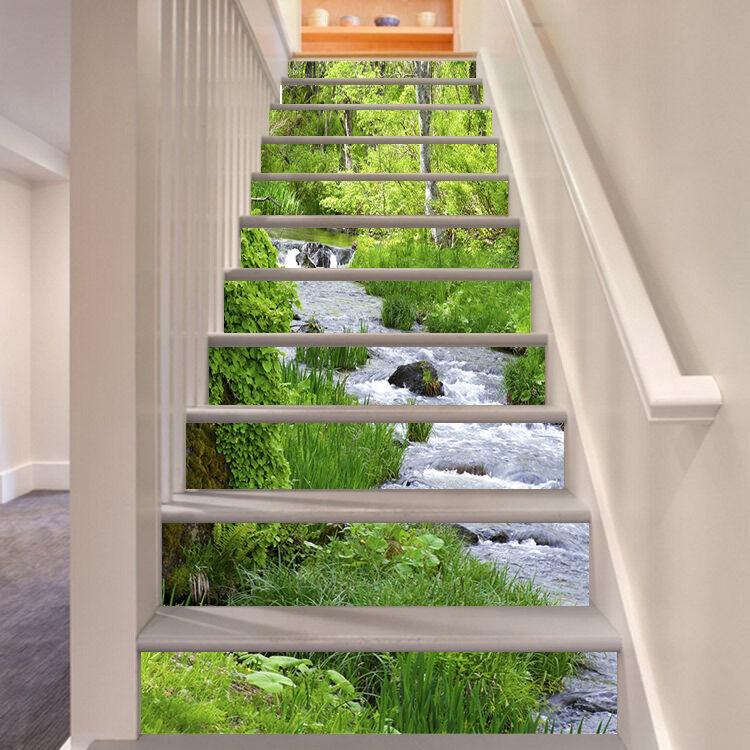 3D Leaf water 258 Stair Risers Decoration Photo Mural Vinyl Decal Wallpaper UK