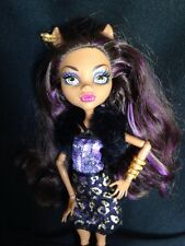 Monster High Doll Clawdeen Wolf Scaris Purple Case Book earrings dress fur shrug