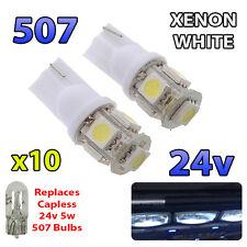 10 x White 24v Capless Hella Spot Light 507 W5W 5 SMD T10 Wedge Bulbs HGV Truck