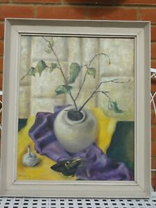 Original-Vintage-Oil-on-Board-Painting-Still-Life-of-vases-by-E-Lang