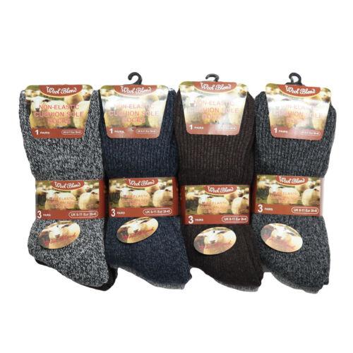 Hiver Homme T46 6prs chaud mélange laine coussin semelle non élastique Diabetic Socks nouveau