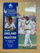 18-22 JUNE 1992 ENGLAND vs PAKISTAN @ LORDS CRICKET OFFICIAL SOUVENIR PROGRAMME