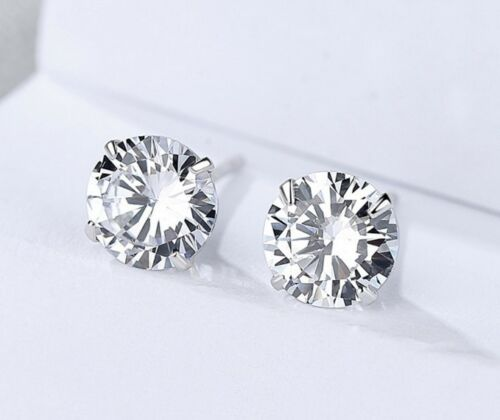 3-8mm Sterling silver stud earrings 925 cubic zirconia round prong setting K36